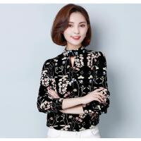 2018春季新款女装大码长袖印花雪纺衫 韩版修身百搭V领打底衫
