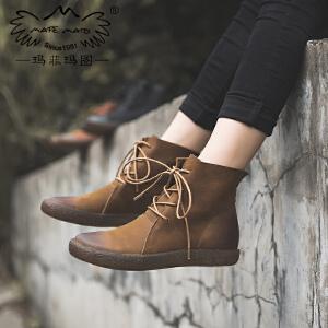 玛菲玛图2018新款短靴女靴春 单靴子圆头马丁靴女真皮平底帅气系带机车鞋678-2