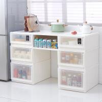 衣服收纳柜收纳盒整理箱 家用收纳箱子抽屉式储物箱塑料大号多层 一件