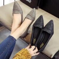 豆豆鞋春季浅口单鞋女平底尖头平跟鞋格子低跟女鞋春季新款
