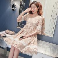 孕妇夏装连衣裙子新款韩版中长款蕾丝裙女短中袖上衣服夏季潮妈咪2902 裸粉色