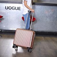 18寸小行李箱女迷你韩版可爱万向轮清新小号16寸拉杆箱登机箱轻便SN2098 玫瑰金 (经典款)