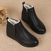 新旺达芙妮秋冬季平底短靴女鞋真皮加绒妈妈鞋软皮防滑中年棉靴子