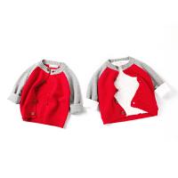 全织时代女宝宝小童针织外套加绒2018春装新款男孩毛衣补丁棒球服