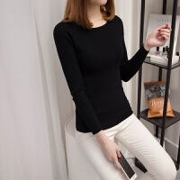 一字领毛衣女春秋冬装新款内搭修身显瘦短款长袖低领针织打底衫 均码