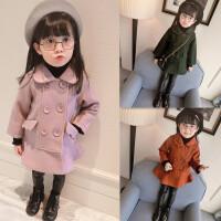 韩版童装冬装新款女童双排扣呢子大衣夹棉毛呢加厚风衣外套潮