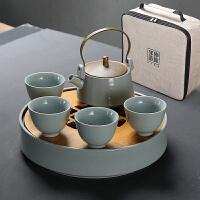 功夫茶具套装家用陶瓷茶盘汝瓷整套旅行茶具茶壶茶杯办公
