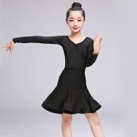 2018新款儿童拉丁舞裙女孩练功服演出少儿春夏季拉丁舞服装表演服