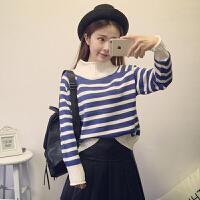 高领毛衣女秋2018新款韩版学院风百搭宽松长袖条纹针织衫上衣学生