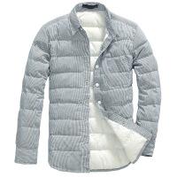 冬季男士青年格子保暖衬衫加绒加厚羽绒衬衣休闲韩版潮流外套