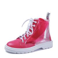 WARORWAR 2019新品YM92-520冬季�W美磨砂反�q粗跟鞋高跟鞋女鞋潮流�r尚潮鞋百搭潮牌靴子短靴雨靴