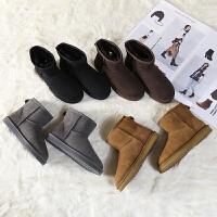 emugg防滑加绒短筒女靴冬保暖雪地棉澳洲羊皮毛一体雪地靴女短靴