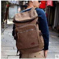 背包双肩包男 容量时尚潮流旅行包男士休闲帆布包日韩版大