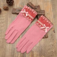 触屏手套女士秋冬季保暖单层开车户外骑车女式可爱学生棉手套 均码