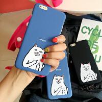 韩国卡通可爱恶搞中指猫iPhone6s手机壳苹果Plus保护套5s磨砂硬壳