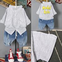 男童夏装新款套装 夏季童装儿童短袖条纹韩版牛仔短裤两件套