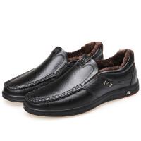 男士真皮保暖休闲棉鞋秋冬新款软底中老年一脚蹬爸爸鞋真皮 黑色 加棉