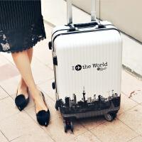 行李箱铝框拉杆箱万向轮女韩版箱子20寸学生24寸密码箱皮箱旅行箱 世界白色【纹路铝框】 20寸
