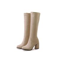 高筒靴子女冬季高跟鞋女2018新款粗跟马丁靴女弹力靴女冬鞋女加绒