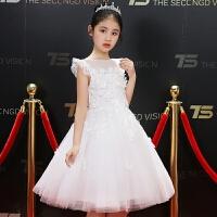 儿童礼服女童生日公主裙钢琴主持人演出服蓬蓬裙白色裙夏