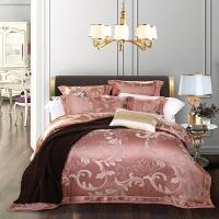高端丝棉欧式贡缎提花四件套被套床单结婚庆床品4件套 玫红色 辉煌圣殿-豆沙