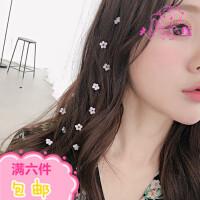 韩国超仙水晶花朵发梳长发编发装饰头饰小清新隐形流线发夹饰品女