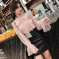 冬装时尚潮新款气质裙子冬女套装bf透视网纱上衣皮裙两件套裙