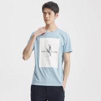 【1件2.5折到手价:58.8】MECITY男装纯色圆领修身纯棉印花针织短袖T恤