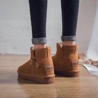 雪地靴女短靴秋冬季女鞋内增高短筒学生雪地棉鞋百搭保暖加绒靴子SN1982
