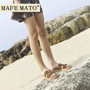 玛菲玛图ins拖鞋2018新款女外穿夏天海边沙滩鞋女百搭学生平底时尚一字h拖M198180882T13
