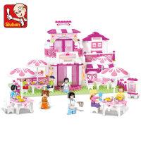 小鲁班拼装玩具浪漫餐厅积木 儿童益智拼插女孩兼容乐高