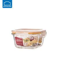 乐扣乐扣耐热玻璃饭盒保鲜盒便当盒密封碗大容量微波炉烤箱可用 300ml【正方形】