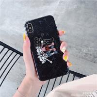 kaws涂鸦插画iphonexsmax手机壳新款情侣苹果6s7/8plus软套潮牌XR 6/6s(4.7) 黑底三个k