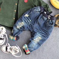 男童加绒牛仔裤冬季儿童加厚破洞牛仔翻边长裤子宝宝保暖棉裤