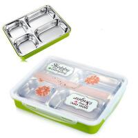 日式大容量304不锈钢分格保温饭盒学生保温便当盒不串味密封1层快餐盘