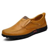 冬秋季新款男鞋真皮男英伦懒人休闲皮鞋驾车鞋爸爸鞋 浅棕色 6088