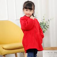 秋冬季女童羽绒服罩衣剪毛绒长袖宝宝吃饭衣韩版儿童画画护衣lp
