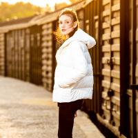 №【2019新款】女式羽绒服短款胖MM加大码女装2018冬很赞白色羽绒服 清新白色 4XL(46-48码)