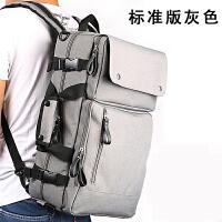 出差多功能双肩包旅行男背包单肩手提电脑包休闲公文包 标准版灰色+礼品一套