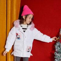【全��2件2.5折,到手�r:149.8】moomoo童�b女童羽�q服中�L款新款冬季迪士尼洋�庵写�和�外套
