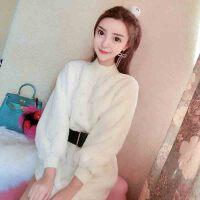 冬装新款女装时尚韩版系带收腰珍珠装饰宽松毛毛修身显瘦连衣裙潮