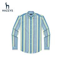 Hazzys哈吉斯春季新款男式�r衫�l�y休�e上衣青春都市�棉�L袖�r衣