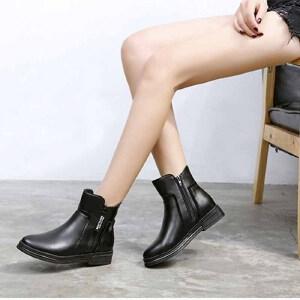 女式 秋冬新款圆头皮面平底双拉链短筒英伦风加绒短筒切尔西女靴