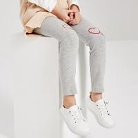 【1件3折到手价:35.7】米喜迪mecity童装秋装新款女童膝盖绣爱心打底针织裤