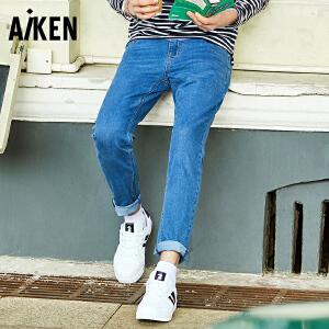 Aiken爱肯2018春季新款牛仔裤直筒小脚休闲长裤修身简约纯色潮裤