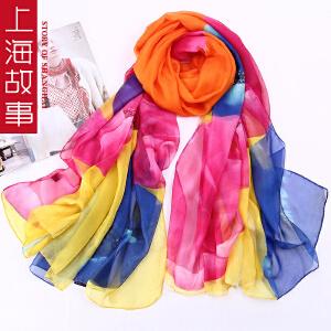 上海故事韩版女士围巾丝巾超大长款雪纺丝巾数码喷绘丝巾纱巾沙滩巾夏季空调披肩