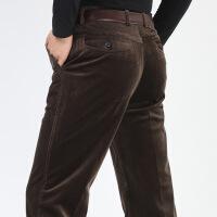 男士休闲裤秋冬季弹力条绒裤男宽松直筒中年裤子商务灯芯绒男长裤