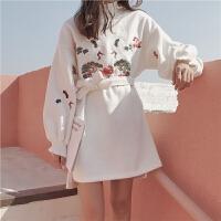 秋冬女装韩国仙鹤刺绣呢子加厚宽松中长款套头长袖系带卫衣裙女潮