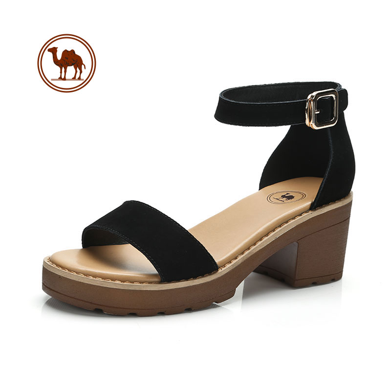 骆驼牌女鞋2018夏季新款平底女凉鞋舒适一字扣带露趾粗跟真皮凉鞋