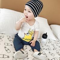 婴儿短袖T恤夏季 新生儿韩版鸡皇冠字母圆领纯棉吸汗宝宝体恤